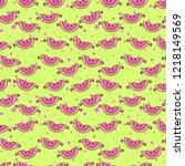 cute kids watermelon pattern... | Shutterstock .eps vector #1218149569