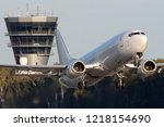 civil airliner taking off in... | Shutterstock . vector #1218154690