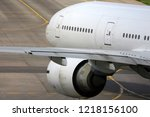 civil wide body airliner close... | Shutterstock . vector #1218156100