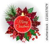 christmas card. christmas ball  ... | Shutterstock .eps vector #1218157879