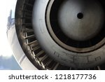 jet engine of aircraft close up ... | Shutterstock . vector #1218177736
