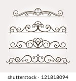 set of four calligraphic floral ... | Shutterstock .eps vector #121818094