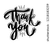 thank you hand drawn vector... | Shutterstock .eps vector #1218183259