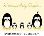 welcome baby penguins   triples ... | Shutterstock .eps vector #121818574