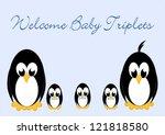 welcome baby penguins   triples ... | Shutterstock .eps vector #121818580