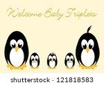 welcome baby penguins   triples ... | Shutterstock .eps vector #121818583