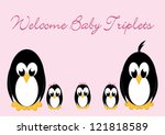 welcome baby penguins   triples ... | Shutterstock .eps vector #121818589
