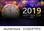 happy new year 2019 poster with ... | Shutterstock .eps vector #1218197953