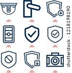 simple set of  9 outline icons... | Shutterstock .eps vector #1218198190