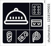 set of 6 protection outline... | Shutterstock .eps vector #1218199003
