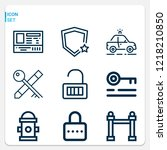 simple set of  9 outline icons... | Shutterstock .eps vector #1218210850