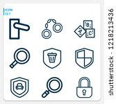 simple set of  9 outline icons... | Shutterstock .eps vector #1218213436