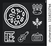 set of 6 closeup outline icons... | Shutterstock .eps vector #1218213766