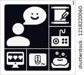 set of 6 hand filled icons such ... | Shutterstock .eps vector #1218220060