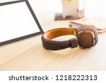 vintage colors of headphone... | Shutterstock . vector #1218222313