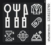 set of 6 vintage outline icons... | Shutterstock .eps vector #1218223780