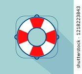 lifebuoy icon with long shadow. ... | Shutterstock . vector #1218223843