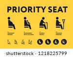 public transport priority seats ... | Shutterstock .eps vector #1218225799