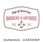 burgers and hotdogs is a vector ... | Shutterstock .eps vector #1218233569