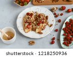 bruschetta with strawberries ... | Shutterstock . vector #1218250936