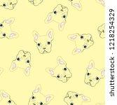 bulldog seamless pattern.... | Shutterstock .eps vector #1218254329