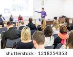 speaker giving a talk in... | Shutterstock . vector #1218254353