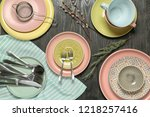set of clean tableware on... | Shutterstock . vector #1218257416