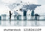 young businesswoman in suit at... | Shutterstock . vector #1218261109