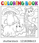 coloring book african nature... | Shutterstock .eps vector #1218288613