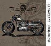 vintage bobber motorcycle poster | Shutterstock .eps vector #1218295759