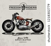 classic motorcycle illustration   Shutterstock .eps vector #1218302779