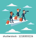 businessman and business woman... | Shutterstock .eps vector #1218303226