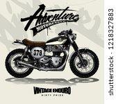 vintage srambler motorcycle...   Shutterstock .eps vector #1218327883