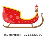 empty santa sleigh with... | Shutterstock . vector #1218333730