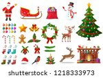 christmas new year set. santa... | Shutterstock . vector #1218333973