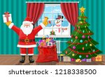 snowman looks in living room... | Shutterstock .eps vector #1218338500