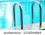 modern swimming pool with... | Shutterstock . vector #1218344869