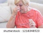 tired elderly person. senior...   Shutterstock . vector #1218348523