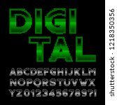 digital alphabet font. 80s... | Shutterstock .eps vector #1218350356