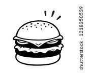 double cheeseburger drawing ... | Shutterstock .eps vector #1218350539