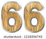 numeral 66  sixty six  isolated ... | Shutterstock . vector #1218356743