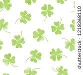 seamless watercolor clover... | Shutterstock .eps vector #1218368110