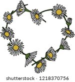 daisy chain heart isolated | Shutterstock .eps vector #1218370756