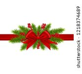 christmas decoration with red... | Shutterstock .eps vector #1218374689