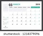 2019 calendar planner corporate ... | Shutterstock .eps vector #1218379096