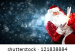 santa with beard and red hat... | Shutterstock . vector #121838884