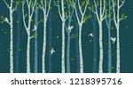 birch tree with birds...   Shutterstock .eps vector #1218395716