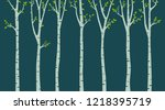 birch tree with birds... | Shutterstock .eps vector #1218395719