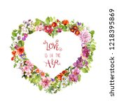 floral heart shape and motivate ... | Shutterstock . vector #1218395869