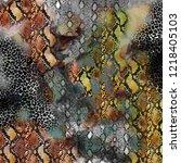 snake  and leopard pattern ... | Shutterstock . vector #1218405103